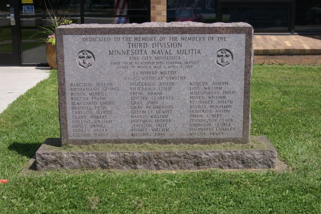 monument in front of Pine City Library